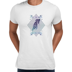 Let the sea set you free Fish Ocean Scuba Diving Sailor Unisex White T-shirt