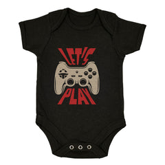 Gaming T-Shirt Old School Gamer Retro Video Game Let's Play Black Baby & Toddler Body Suit