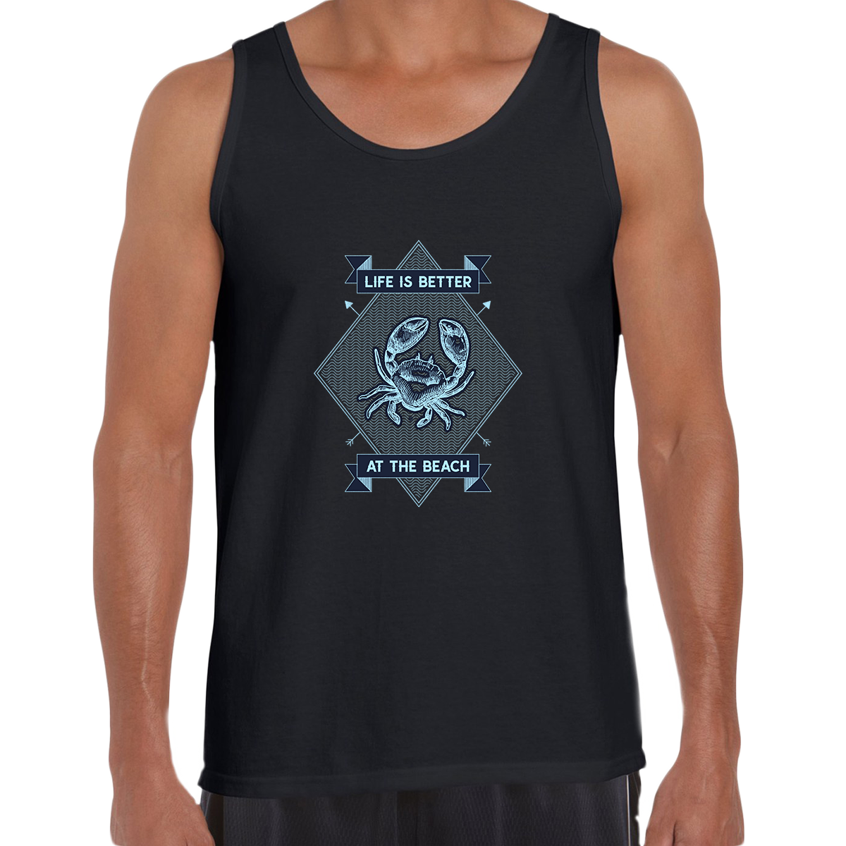 Life is Better at the Beach Relax Sunshine Seaside Short sleeve Unisex Black Tank Top
