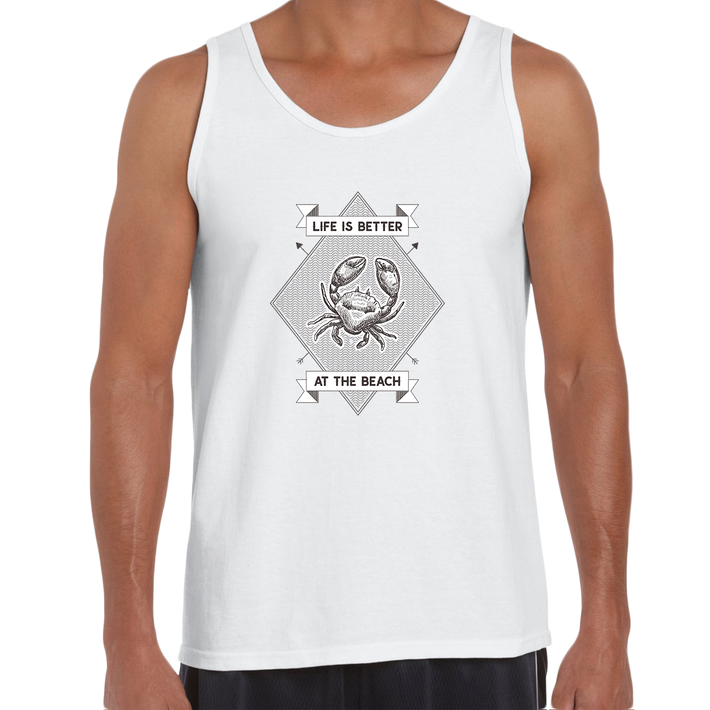 Life is Better at the Beach Relax Sunshine Seaside Short sleeve Unisex White Tank Top