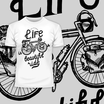 Life is a beautiful ride Special Black T-shirt design for Bicycle minds
