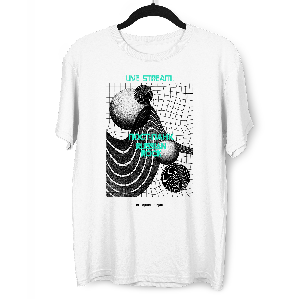 Live Stream-PostPunk-Russian Rock-Internet Radio Abstract Crew Neck White T-shirt