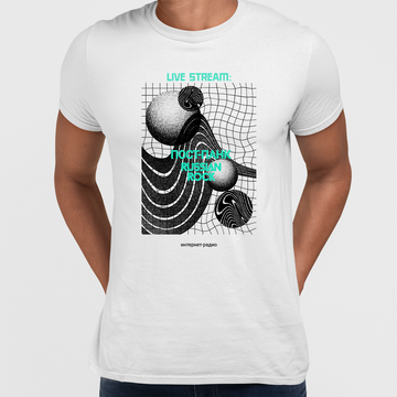 Live Stream-PostPunk-Russian Rock-Internet Radio Abstract Crew Neck Black T-shirt