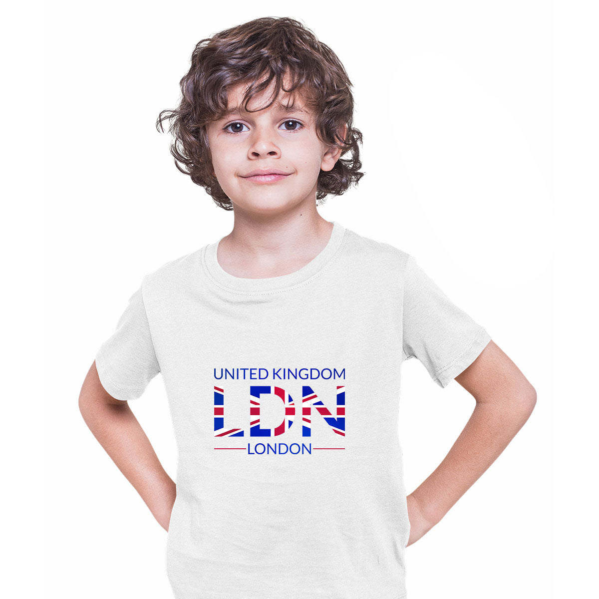 LDN Union Jack Abstract Print Kids White T-Shirt London Flag