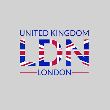LDN Union Jack Abstract Print Kids Black T-Shirt London Flag