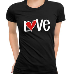 Love Sign Four - Valentines Love Black T-shirt for Women