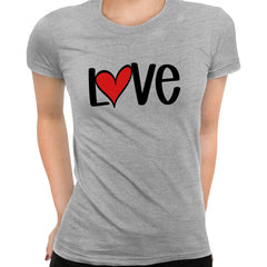 Love Sign Four - Valentines Love Grey T-shirt for Women