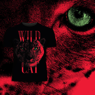 Lynx Live Life on the Wild Side - Halftone Animal Wild Cat T-Shirt