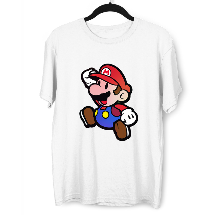 Mens Super Mario Jumping Huge Chest Print T Shirt Nintendo Gamer Xbox PS4 SNES Retro Minds White