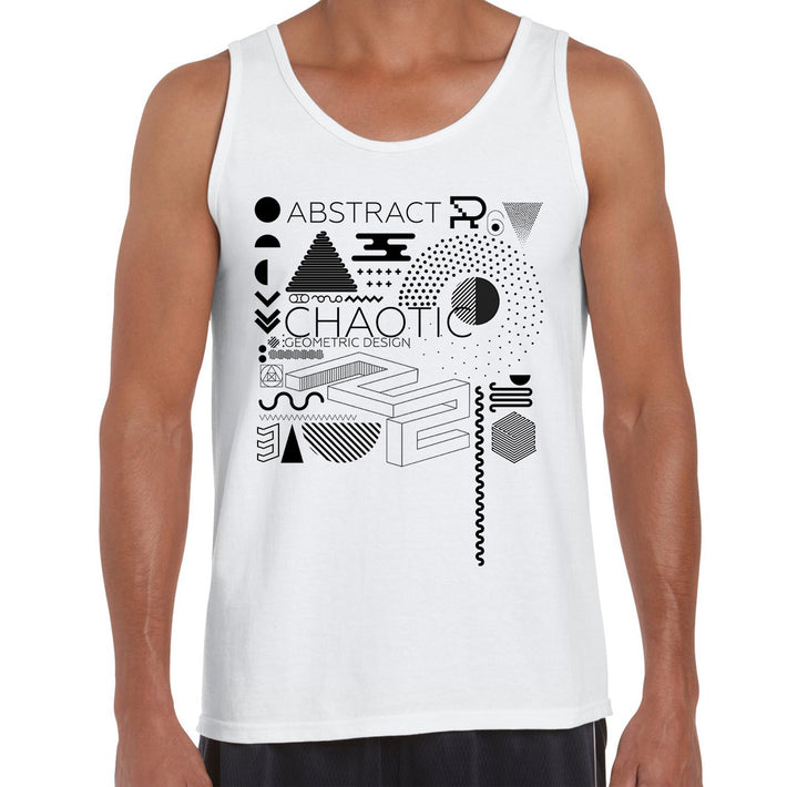 Minimal Isometric Art With Modern Geometric Composition White Tank-top.