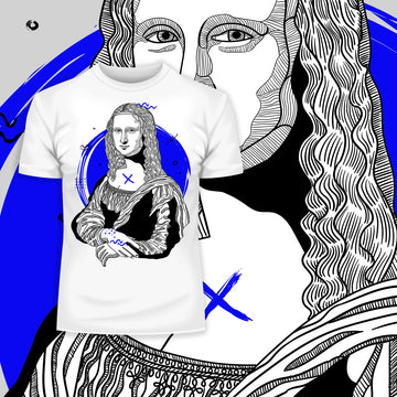 Mona Lisa Geometric Drawing T-Shirt - Creative Gioconda Leonardo da Vinci White Tee