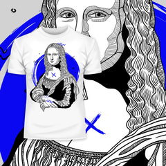 Mona Lisa Geometric Drawing T-Shirt - Creative Gioconda Leonardo da Vinci