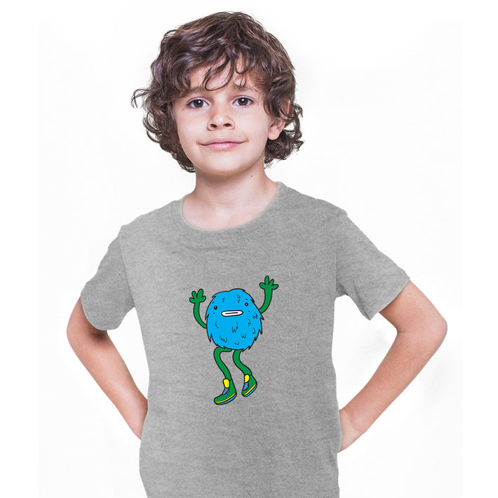 Cookie Fluffy Inspired Monster Funny Gift Drawing Kids Printed Grey T-Shirt for Kids