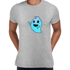 Blue Casper Friendly Monster Scary Eye Funny Gift Drawing Men Printed Grey Unisex T-Shirt