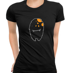 Tooth Vampire Monster Scary Eye Funny Gift Drawing Printed Black T-Shirt for Women
