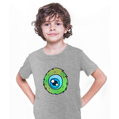 Cookie Green Tongue Monster Eye Funny Gift Drawing Kids Printed Grey T-Shirt for Kids