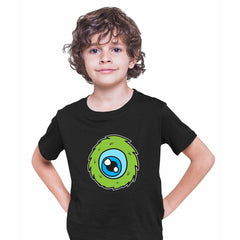 Cookie Green Tongue Monster Eye Funny Gift Drawing Kids Printed Black T-Shirt for Kids