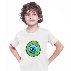 Cookie Green Tongue Monster Eye Funny Gift Drawing Kids Printed White T-Shirt for Kids