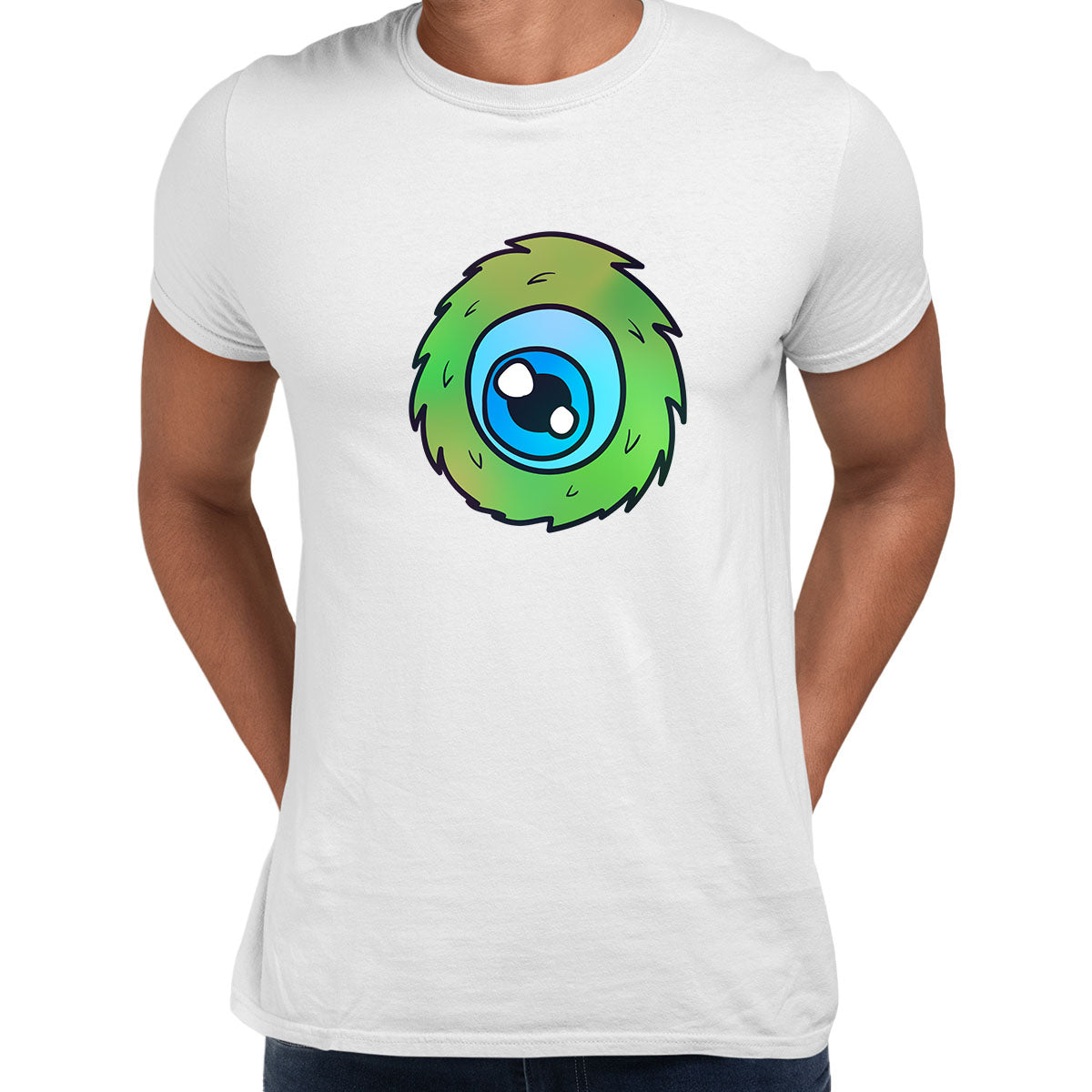 Cookie Green Tongue Monster Eye Funny Gift Drawing Men Printed White Unisex T-Shirt