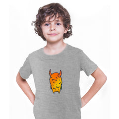 Angry Evil Monster Scary Eye Funny Gift Drawing Kids Printed Grey T-Shirt for Kids