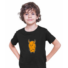 Angry Evil Monster Scary Eye Funny Gift Drawing Kids Printed Black T-Shirt for Kids