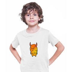 Angry Evil Monster Scary Eye Funny Gift Drawing Kids Printed White T-Shirt for Kids