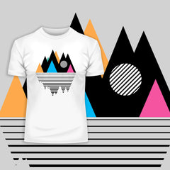 100% Eco Organic T-shirt - Mountain Geometry Design Composition Kuzi Tees
