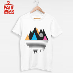Kuzi Tees 100% Eco Organic T-shirt - Mountain Geometry Design Composition
