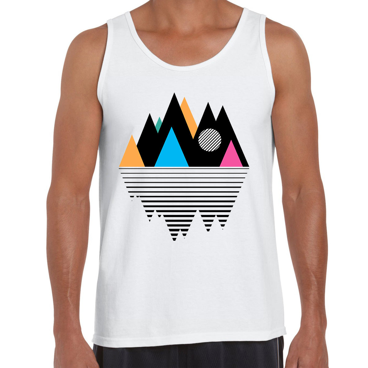 Mountain Geometry Minimal Design White Tank Top Composition