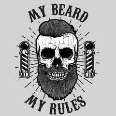 My Beard My Rules Cool Hipster Skull Mens Black White & Grey T-shirt