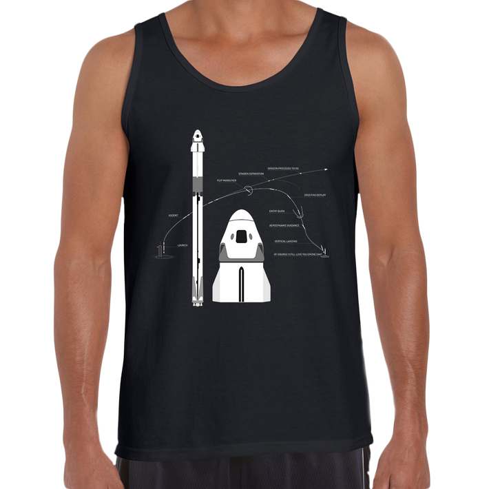 NASA SpaceX Falcon 9 Dragon Launch & Land Space Geeks 2020 Black Tank Top