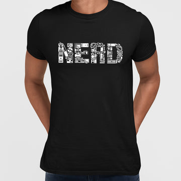 NERD typography tee including goodies and gadgets icon Art Black T-shirt