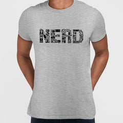 NERD typography tee including goodies and gadgets icon Grey