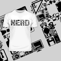 NERD typography tee including goodies and gadgets icon