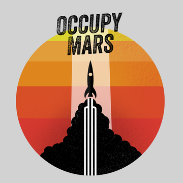 Occupy Mars Amazing Nasa Space SpaceX Rocket Stars Crew Neck Black T Shirt