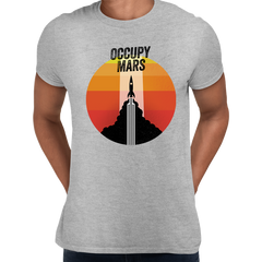 Occupy Mars Amazing Nasa Space SpaceX Rocket Stars Crew Neck Grey T Shirt