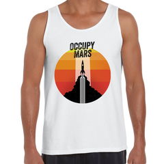 Occupy MARS Nasa Space Project SpaceX Rocket Stars White Tank Top