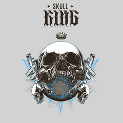 Old King Death Skull T-Shirts Mens Women Bike Knighthood Grave White Unisex T-shirt
