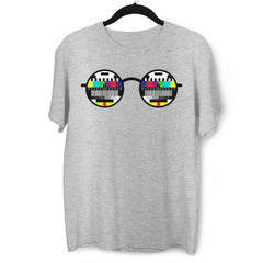 Old fashioned Nostalgia TV Test Pattern inside the Glasses Minimal Art Grey T-shirt