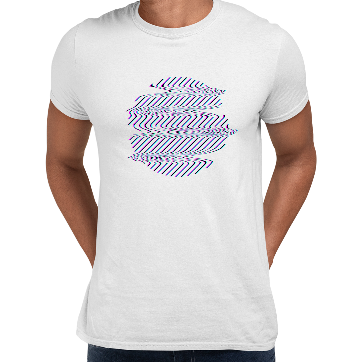 Retrofuturistic Sphere Shape with Glitch & Defect Effects Design Unisex White T-shirt
