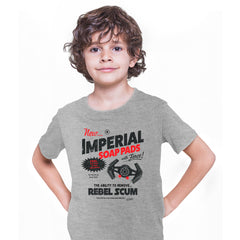 Star Wars Funny T-shirt Imperial Force Rebels Tie Fighter Vader Print Grey Kids T-Shirt