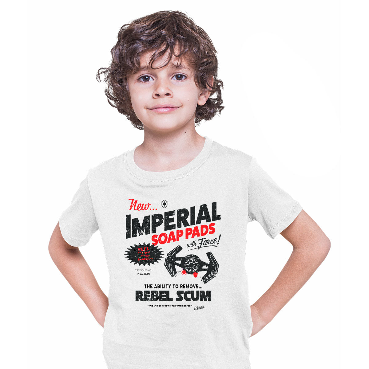 Star Wars Funny T-shirt Imperial Force Rebels Tie Fighter Vader Print White Kids T-Shirt