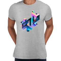 Abstract 3D multi-color Geometrical Composition Blocks Crew Neck Grey T-Shirt