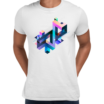 Abstract 3D multi-color Geometrical Composition Blocks Crew Neck BlackT-Shirt