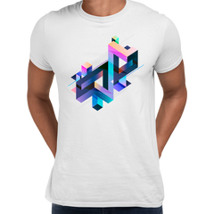 Abstract 3D multi-color Geometrical Composition Blocks Crew Neck White T-Shirt