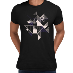 Abstract Flat Art Background With Geometric Elements Crew Neck Black Tee