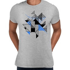 Abstract Flat Art Background With Geometric Elements Crew Neck Grey Tee