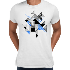 Abstract Flat Art Background With Geometric Elements Crew Neck White Tee