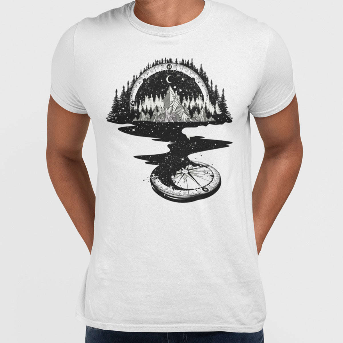 Surreal T-shirt of River Mountain & a Compass