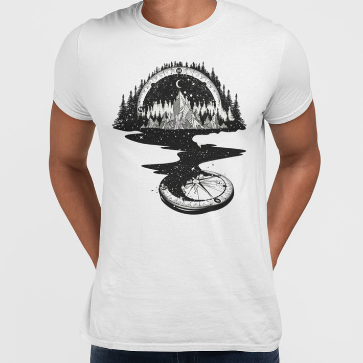 Surreal T-shirt of River Mountain & a Compass from Kuzi Tees